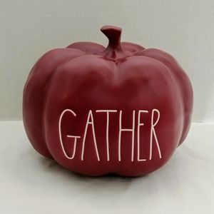 Rae Dunn Medium Gather Pumpkin - maroon burgundy
